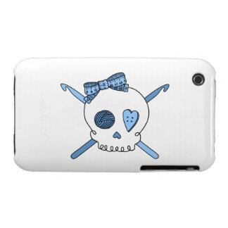 Skull & Crochet Hooks (Baby Blue) iPhone 3 Covers