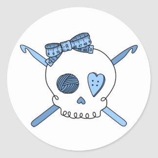 Skull & Crochet Hooks (Baby Blue) Classic Round Sticker