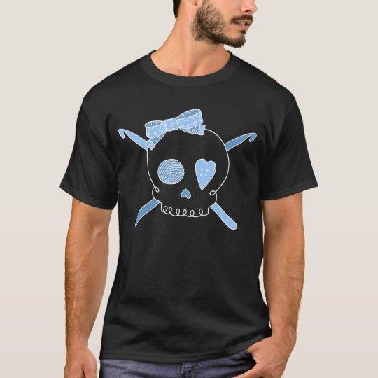 Skull & Crochet Hooks (Baby Blue - Dark Version) T-Shirt