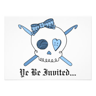 Skull & Crochet Hooks (Baby Blue) Custom Announcements