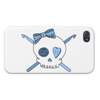 Skull & Crochet Hooks (Baby Blue) Cases For iPhone 4