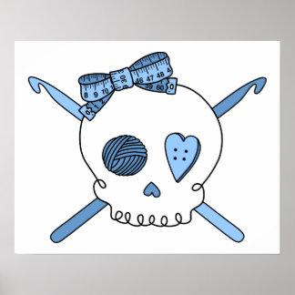 Skull Crochet Hooks Baby Blue Posters