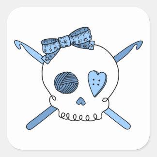 Skull & Crochet Hooks (Baby Blue) Square Sticker