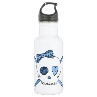 Skull & Crochet Hooks (Baby Blue) Stainless Steel Water Bottle