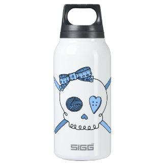Skull & Crochet Hooks (Baby Blue) Thermos Water Bottle