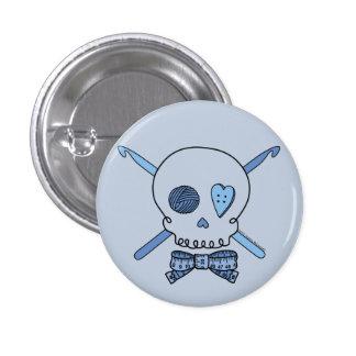 Skull & Crochet Hooks (Blue Background) 1 Inch Round Button