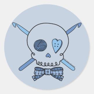 Skull & Crochet Hooks (Blue Background) Classic Round Sticker