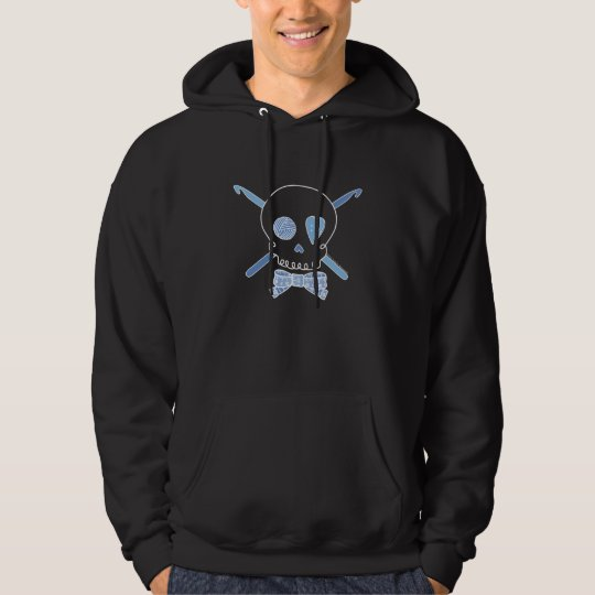 Skull & Crochet Hooks (Blue - Dark Version) Hoodie
