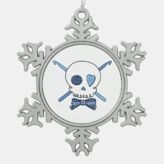 Skull & Crochet Hooks (Blue) Snowflake Pewter Christmas Ornament