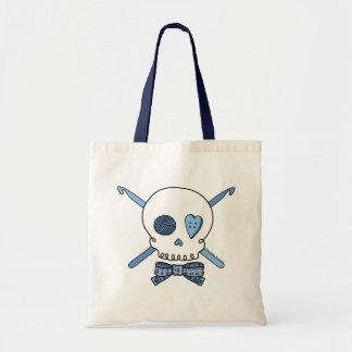 Skull & Crochet Hooks (Blue) Tote Bag
