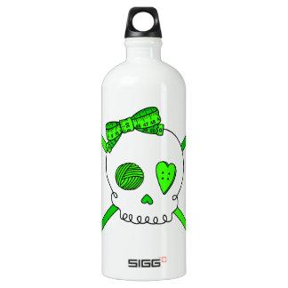 Skull & Crochet Hooks (Lime Green) Aluminum Water Bottle