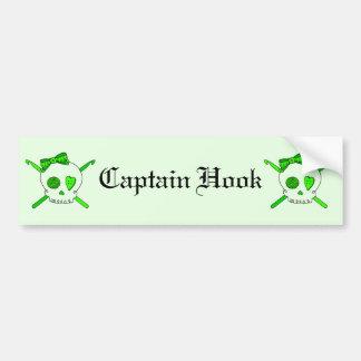Skull & Crochet Hooks (Lime Green Background) Bumper Sticker