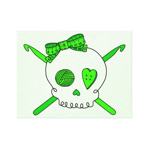 Skull & Crochet Hooks (Lime Green Background) Stretched Canvas Print