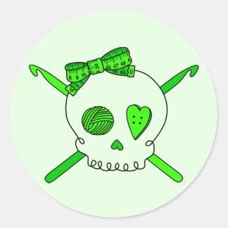 Skull & Crochet Hooks (Lime Green Background) Classic Round Sticker