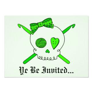 Skull & Crochet Hooks (Lime Green Background) 5.5x7.5 Paper Invitation Card