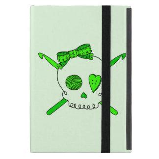Skull & Crochet Hooks (Lime Green Background) iPad Mini Cases