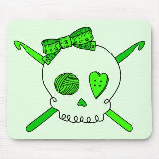 Skull & Crochet Hooks (Lime Green Background) Mouse Pad