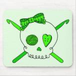 Skull & Crochet Hooks (Lime Green Background) Mousepads