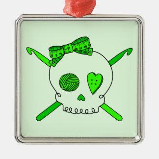 Skull & Crochet Hooks (Lime Green Background) Square Metal Christmas Ornament