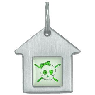 Skull & Crochet Hooks (Lime Green Background) Pet ID Tags