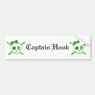 Skull & Crochet Hooks (Lime Green) Bumper Sticker