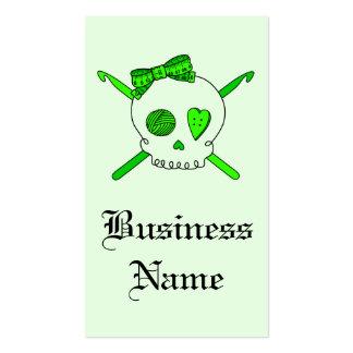 Skull & Crochet Hooks (Lime Green) Business Card Template