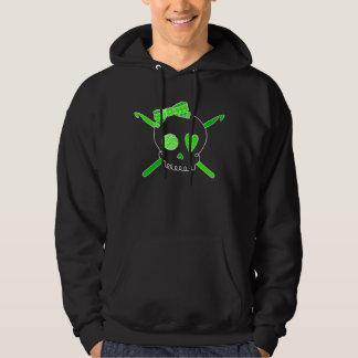 Skull & Crochet Hooks (Lime Green - Dark Version) Hoodie