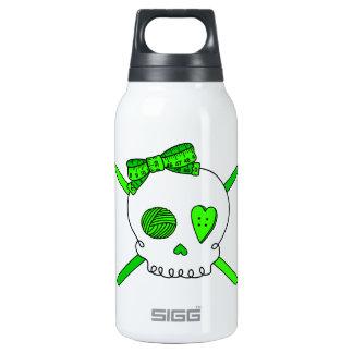 Skull & Crochet Hooks (Lime Green) Insulated Water Bottle
