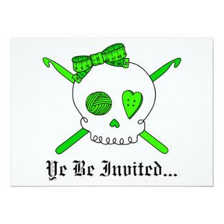 Skull & Crochet Hooks (Lime Green) 5.5x7.5 Paper Invitation Card