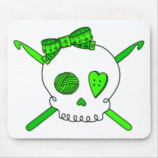 Skull & Crochet Hooks (Lime Green) Mouse Pad
