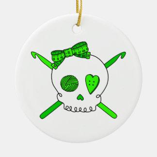 Skull & Crochet Hooks (Lime Green) Double-Sided Ceramic Round Christmas Ornament