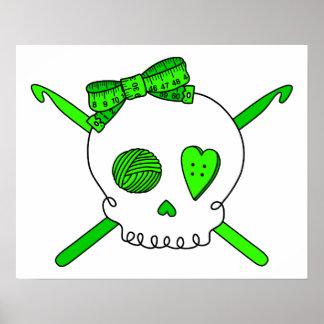Skull & Crochet Hooks (Lime Green) Poster