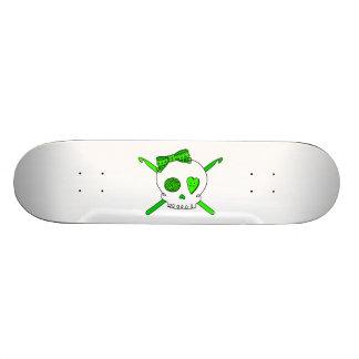 Skull & Crochet Hooks (Lime Green) Skateboard Deck