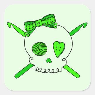 Skull & Crochet Hooks (Lime Green) Square Sticker