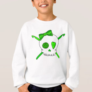 Skull & Crochet Hooks (Lime Green) Sweatshirt