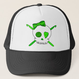 Skull & Crochet Hooks (Lime Green) Trucker Hat