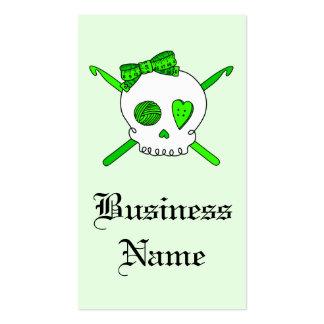 Skull & Crochet Hooks (Lime Green - White Skull) Business Card Templates