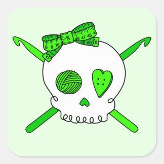 Skull & Crochet Hooks (Lime Green - White Skull) Square Sticker