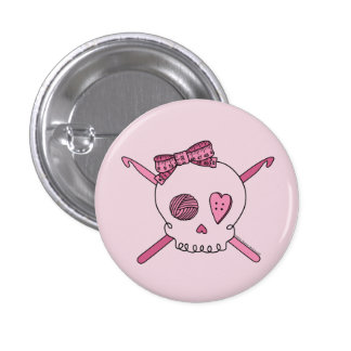 Skull & Crochet Hooks (Pink Background) 1 Inch Round Button