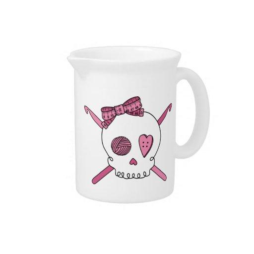 Skull & Crochet Hooks (Pink) Beverage Pitcher