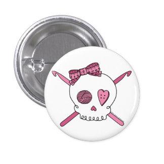 Skull & Crochet Hooks (Pink) 1 Inch Round Button