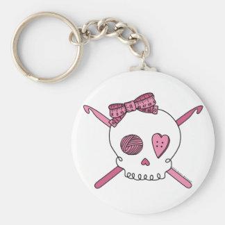 Skull & Crochet Hooks (Pink) Keychain
