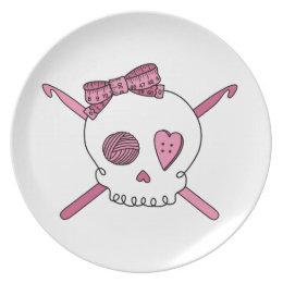Skull \u0026 Crochet Hooks (Pink) Melamine Plate ...  sc 1 st  Zazzle & Pink Crochet Melamine Plates   Zazzle