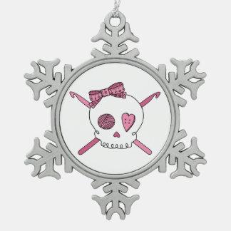 Skull & Crochet Hooks (Pink) Snowflake Pewter Christmas Ornament