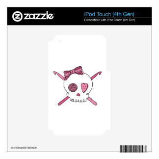 Skull & Crochet Hooks (Pink) Skins For iPod Touch 4G