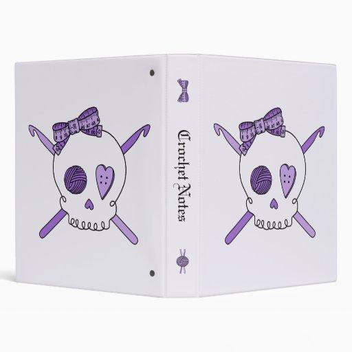 Skull & Crochet Hooks (Purple Background) Vinyl Binders