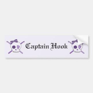 Skull & Crochet Hooks (Purple Background) Bumper Sticker