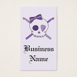 Skull & Crochet Hooks (Purple Background) Business Card