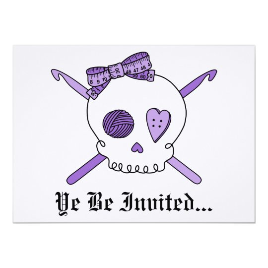 Skull & Crochet Hooks (Purple Background) Card