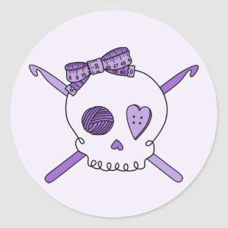 Skull & Crochet Hooks (Purple Background) Classic Round Sticker